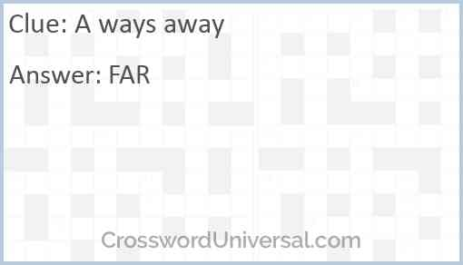 A ways away Answer