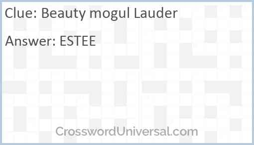 Beauty mogul Lauder Answer