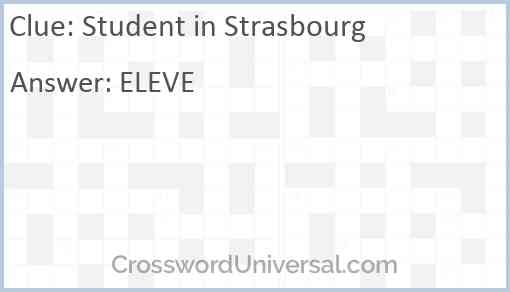 Student in Strasbourg Answer